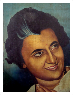 1972: The finished painting of Smt Indira Gandhi, then Prime Minister of India.